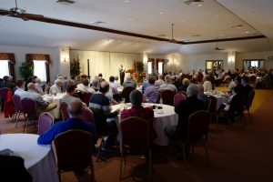 Brian Redman talks at the NER event at the Boston German Club