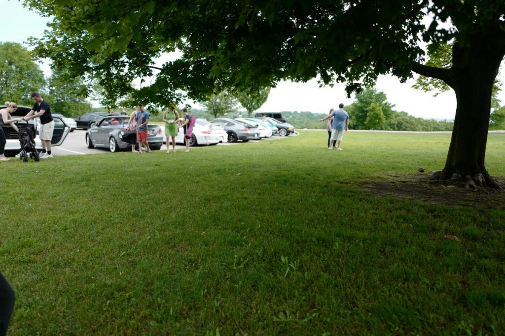 Larz Anderson German Car Day 2017 - top of the hill parking