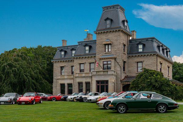 Larry Levin captures Porsche diversity in front of Chateau-sur-Mer in Newport RI