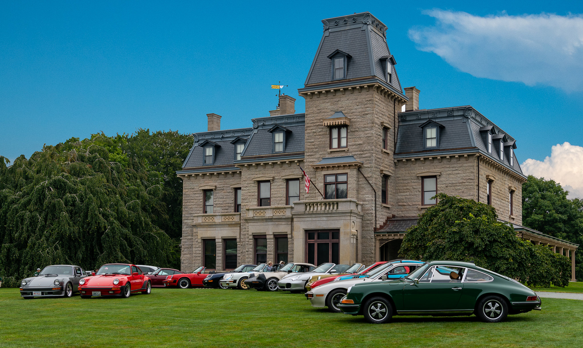 Larry Levin captures Porsche diversity in front of Chateau-sur-Mer in Newport RI
