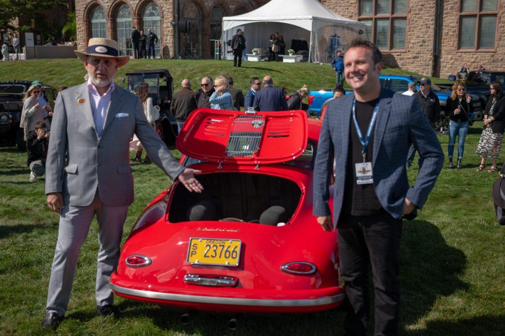 Nick Schorsch and Rod Emory displaying custom 356 Porsche