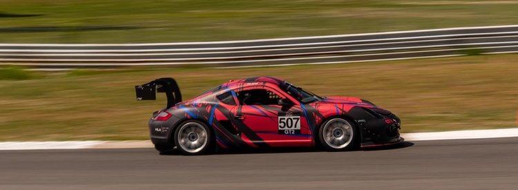 KMC GT2 Porsche race car testing at Thompson Speedway 2021